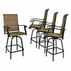 Patio Chairs Set Of 4 Swivel Bar Stools Height Kitchen Outdoor Garden Furniture