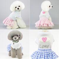 Pet Dog Cute Skirt Love Heart Pattern For Small Medium Dog Princess Dress ON