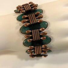 """Matisse Renoir Signed Enamel Copper Link Bracelet Forest Green 7 1/2"""""""
