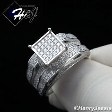 WOMEN 925 STERLING SILVER LAB DIAMOND GOLD/SILVER ICED OUT BLING RING*SR86
