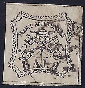 STATO PONTIFICIO 1855 - 8 Baj n. F4 FALSO PER POSTA Cert. FERRARIO € 1.000