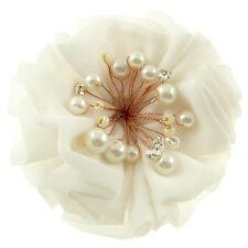 Barrette pince à cheveux Fleur froufrou tissu BLANCHE mariée perle cristal Blanc