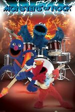 "SESAME STREET POSTER ""MONSTERS OF ROCK"" LICENSED ""BRAND NEW"" ELMO,GROVER"