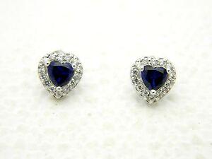 Estate Fresh .925 Sterling Silver CZ Clear Blue Rhinestone Heart Post Earrings
