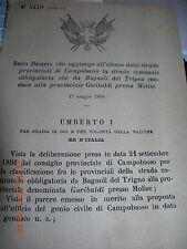 REGIO DECRETO 1888 PROV CAMPOBASSO STRADA CO BAGNOLI DEL TRIGNO GARIBALDI MOLISE