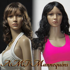 2 Long curly synthetic wigs for/on plastic mannequins, soft hair,  2Wigs- Y20+21
