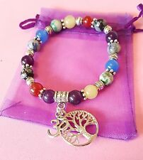 chakra gemstone healing bracelet with tree of life and om charm elasticated