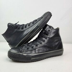 Converse Chuck Taylor All Star Black Leather Lace Hi High Tops Boot Mid US 10