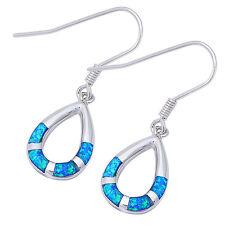 Tear Drop Blue Opal Dangle Style .925 Sterling Silver Earrings