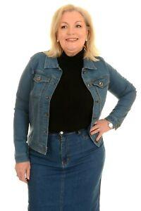 Ladies Women's Stretch Classic Stonewash Denim Jacket - Sizes 8 to 18