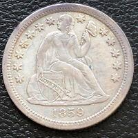 1859 O Seated Liberty Dime 5c High Grade XF + #31181