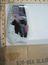 FREE US SHIPPING ok touch lamp replacement glass panel Bear with Cub 638-BE4
