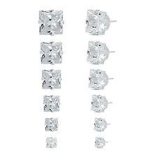 Jewelry Women's Stainless Steel Square Clear Cubic Zirconia Stud Earring 6 Pairs