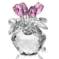 H&D Pink Crystal Rose Figurine Handmade Glass Ornaments Xmas Wedding Lady Gifts