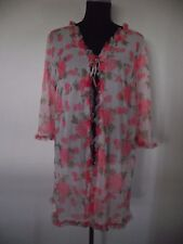 True vintage 1960's babydoll robe dressing gown, jacket, day jacket roses,
