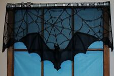 HERITAGE LACE BLACK HALLOWEEN BATS AND WEB CURTAIN VALANCE 38WX16LX21L ITEM A2