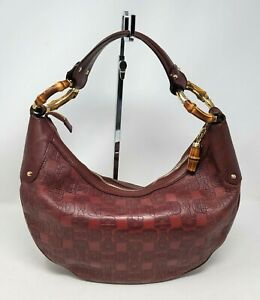 Gucci Bamboo Burgundy Horsebit Guccissima Leather Hobo Shoulder Hand Bag Auth