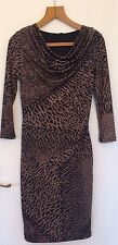 WOMENS AUSTIN REED TIGER PRINT DRESS UK 6 SCOOP NECK FORMAL WORK ELEGANT RRP£119