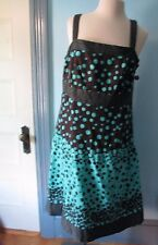 KIM ROGERS 14W blue & brown Cotton dress NEW Straps Dots Lined