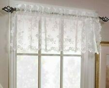 """Petite Fleur Valance Country Farmhouse White romantic floral lace 52"""" x 14"""""""