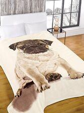 Pug Design Mink Throw , Snug, Cozy & Luxurious Blanket, Bedspread