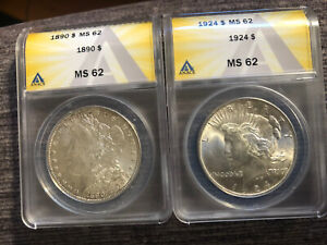 (2) Matched Uncirculated Silver Dollars 1890 Morgan + 1924 Peace Both MS-62