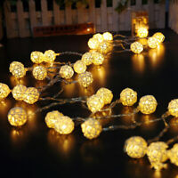 20/40/80 LED Warm/Cool White Rattan Ball Fairy String Lights Wedding Party Decor
