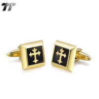 Elegant MENS TT 18K Gold GP Stainless Steel Square Cross Cufflinks CU53 NEW