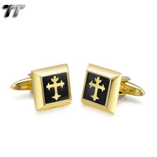 Elegant Mens TT 18k Gold GP Stainless Steel Square Cross Cufflinks Cu53