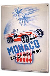 Tin Sign XXL Nostalgic Car Retro Monaco Grand Prix 1950 Vintage