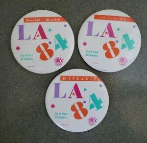 3 Los Angeles Olympics Pin Badge LA 84 Polish, Arabic, Japanese STARS IN MOTION