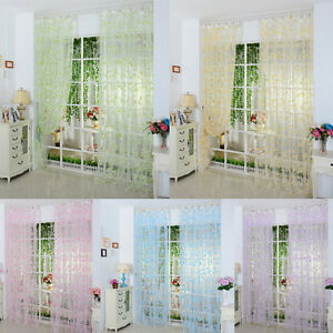 Cheap Slot Top Floral Door Screen Windows Voile Curtains Room Divider Valances