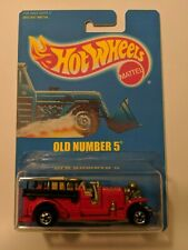 1990's Hot Wheels Solid Blue Pack Card Old Number 5 #1 - Red Basic Wheel