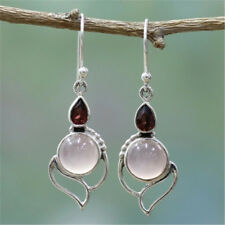 925 Silver Garnet Ruby Moonstone Dangle/Drop Hook Earrings Wedding Jewelry Gifts