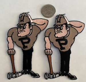 "(2)-PU Purdue Boilermakers Vintage Style Embroidered Iron On Patches. 4""x 3"""
