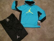 NEW Boys NIKE  2Pc OUTFIT AIR JORDAN THERMA-FIT Blue Hoodie+Shorts YMD FREE SHIP