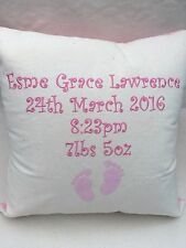 Personalised Baby Keepsake Gift Cushion for Girl Embroidered Design