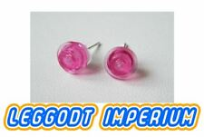 LEGO Custom Stud Earrings - Transparent Pink - FREE POST