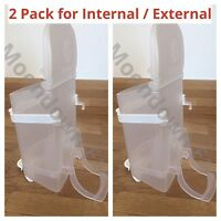2pk 0.5kg SEED HOPPERS PLASTIC Internal / External CAGE FINCH, BUDGIE & CANARY
