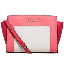 Michael Kors Selma Pocket Medium Messenger Leather Coral Watermelon White $248