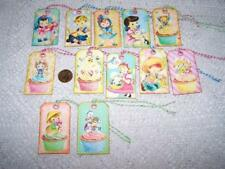 12~Easter~Retro~Bunnies~K ids~Eggs~Linen Cardstock~Gift~Hang~Tags