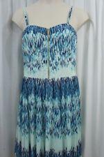 Guess Los Ángeles Vestido Sz 14 Azul Multicolor Tanya Chiffon de cóctel y fiesta