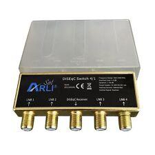 DiSEqC Schalter 4/1 + F Stecker vergoldet HD Sat Switch 4K Wetterschutz DiseqC