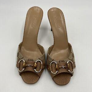 Gucci Horsebit Slides Mules Heels Women's US Size 6.5 Gucci Size 36.5 Brown