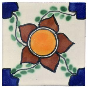 Fliese, Kachel - Flor Grande - 10er-Format, handbemalt, aus Mexiko [33-30]