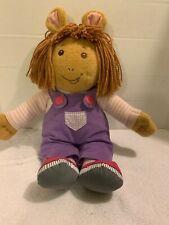 """Playskool Hasbro 1998 PBS Arthur TALKING D.W. Plush 18"""" Doll Sister Doll Overall"""
