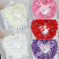 Rose Wedding Favor Heart Shape Jewelry Ring Box Rhinestone Pillow Cushion Decor