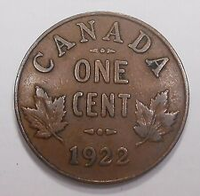 1922 Small Cent F ** RARE Date 3rd LOWEST Mintage KEY King George V Canada Penny