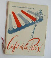 Restaurant Menu For  Cafe De La Paix Hotel. St Moritz  On The Park New York 1955