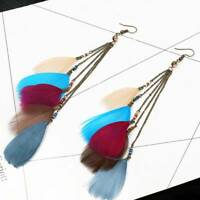 Fashion Women Jewelry Long Chain Colorful Feather Earrings Hook Dangle Earrings